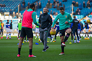 Aston Villa Defender James Chester warms up with Aston Villa Midfielder Ahmed Elmohamady prior to the EFL Sky Bet Championship match between Sheffield Wednesday and Aston Villa at Hillsborough, Sheffield, England on 24 February 2018. Picture by Craig Zadoroznyj.