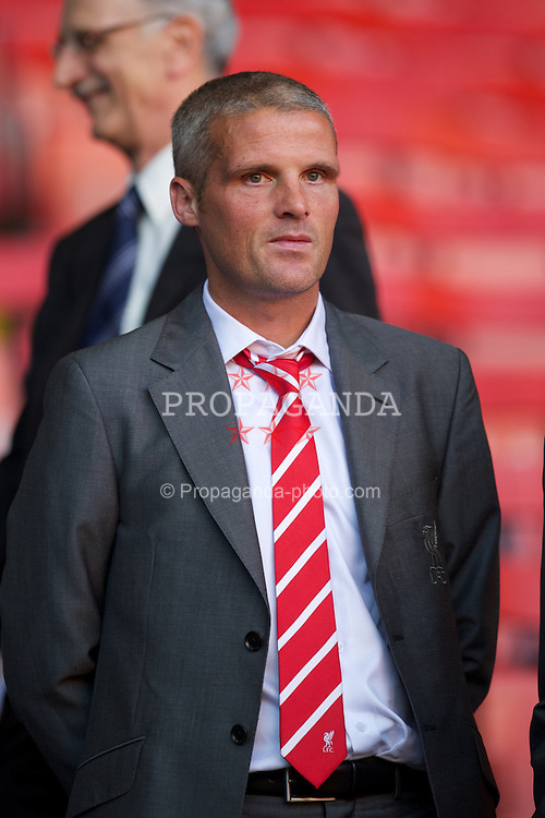 LIVERPOOL, ENGLAND - Wednesday, August 17, 2011: Liverpool's Under-18s coach Mike Marsh during the first NextGen Series Group 2 match against Sporting Clube de Portugal at Anfield. (Pic by David Rawcliffe/Propaganda)