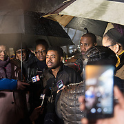 Eddie Sutton, brother of 24-year-old Jamar Clark who was killed by Minneapolis Police on Sunday spoke to the media outside the Minneapolis Police Department 4th precinct headquarters, where a new round of protests erupted after Black Lives Matter activists who had been camped out in the front entrance to the precinct were cleared out on Wednesday, November 18, 2015 in Minneapolis, Minnesota. <br />