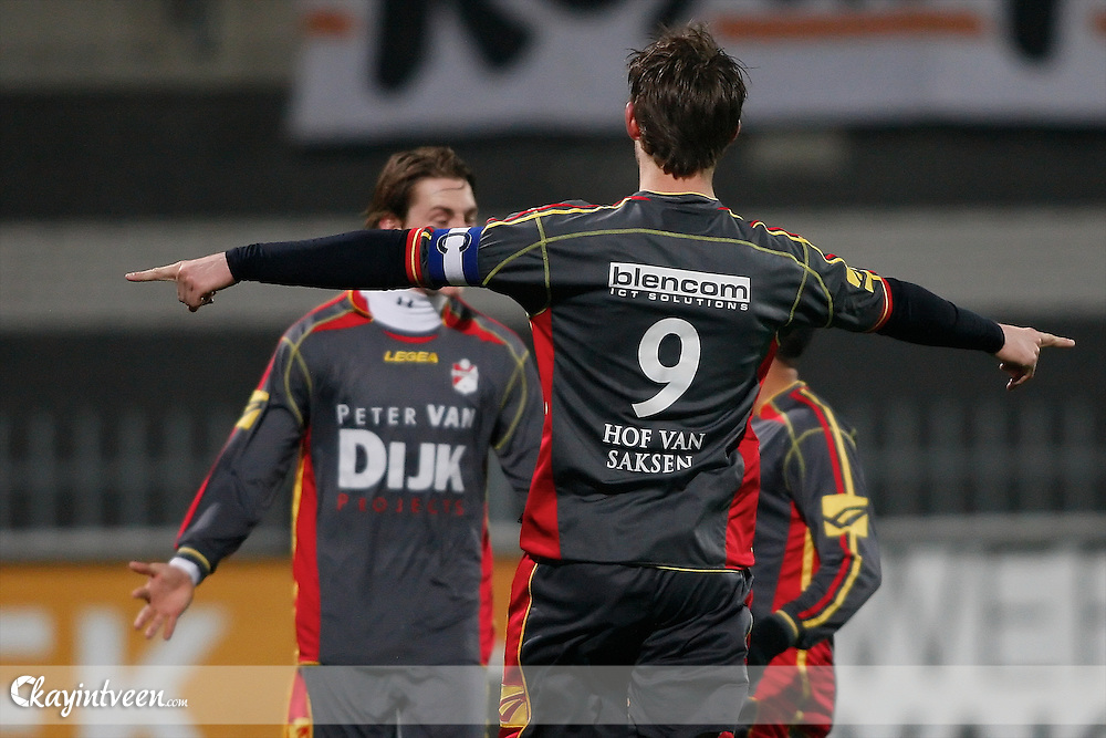 ROOSENDAAL - RBC Roosendaal - FC Emmen, Jupiler League, Seizoen 2010-2011, 04-03-2011, Mariflex Stadion, Ruud ter Heide blij met zijn eerste doelpunt 1-0