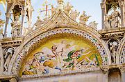 Mosaic above the entrance to Basilica San Marco (Saint Mark's Cathedral), Venice, Veneto, Italy