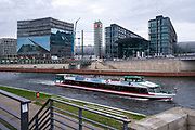 An open top tourist boat sails along the river spree passing Berlin central train station (Berlin Hauptbahnhof) Berlin, Germany.  (photo by Andrew Aitchison / In pictures via Getty Images)