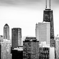 Chicago aerial panoramic picture of Streeterville in black and white including John Hancock Building. Photo panoramic ratio is 1:3.