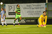 Forest Green Rovers Fabien Robert (26) after scoring the opening goal,1-0 during the Gloucestershire Senior Cup match between Forest Green Rovers and Cheltenham Town at the New Lawn, Forest Green, United Kingdom on 20 September 2016. Photo by Shane Healey.