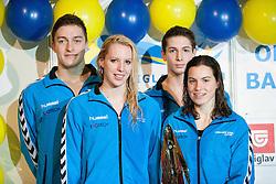 Kristjan Meza, Tina Meza, Ziga Cerkovnik and Nastja Govejsek of PK Velenje during swimming competition Dr.Fig Kranj 2013 on January 19, 2013 in Olympic pool, Kranj Slovenia. (Photo By Vid Ponikvar / Sportida)