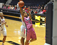 """Ole Miss' Diara Moore (10) vs. Georgia's Shacobia Barbee (20) in women's basketball at the C.M. """"Tad"""" Smith Coliseum in Oxford, Miss. on Sunday, February 24, 2013. Georgia won 73-54."""