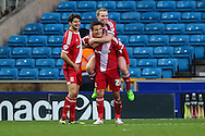 Jelle Vossen of Middlesbrough (21) celebrates scoring his team's third goal against Millwall to make it 0-3 during the Sky Bet Championship match at The Den, London<br /> Picture by David Horn/Focus Images Ltd +44 7545 970036<br /> 06/12/2014