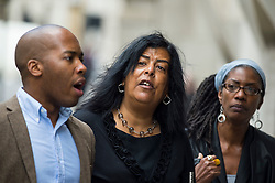 © Licensed to London News Pictures. 10/06/2015. London, UK. SUSAN ALEXANDER (centre), mother of Azelle Rodney and other Family and friends of Azelle Rodney outside The Old Bailey in London where former Met specialist firearms officer Anthony Long is currently standing trial accused of murdering Azelle Rodney in April 2005. Rodney died after officers stopped the car he was travelling in with two other men in Edgware, north London. Photo credit: Ben Cawthra/LNP