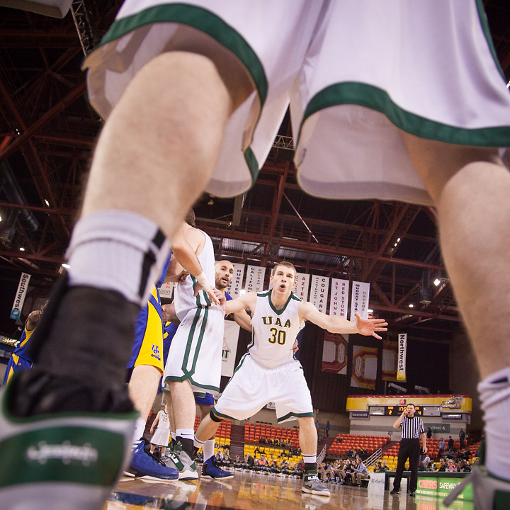 4:30 PM, November 23, 2012.  Sophomore guard, Teancum Stafford of UAA men's basketball team, asks for the ball at Sullivan Arena, Anchorage, AK.  UAA went on to beat University of California Riverside in the second round of the Great Alaska Shootout.