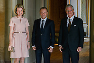 Donald Tusk received by King Philipp and Queen Mathilde at Laeken Castle