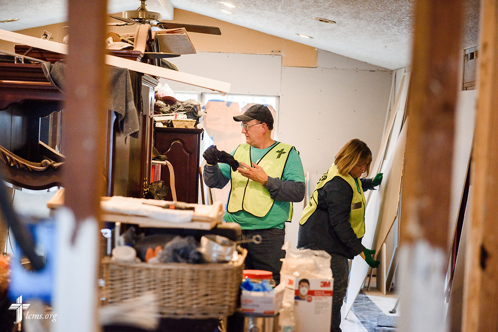 Volunteers Don and Sheila Lutz from St John's Lutheran Church, Green Valley, Ill., work at the home of Trinidad and Linda Hernandez on Thursday, Feb. 8, 2018, in Houston. Recovery work is still underway almost six months after Hurricane Harvey devastated parts of Texas.  LCMS Communications/Erik M. Lunsford