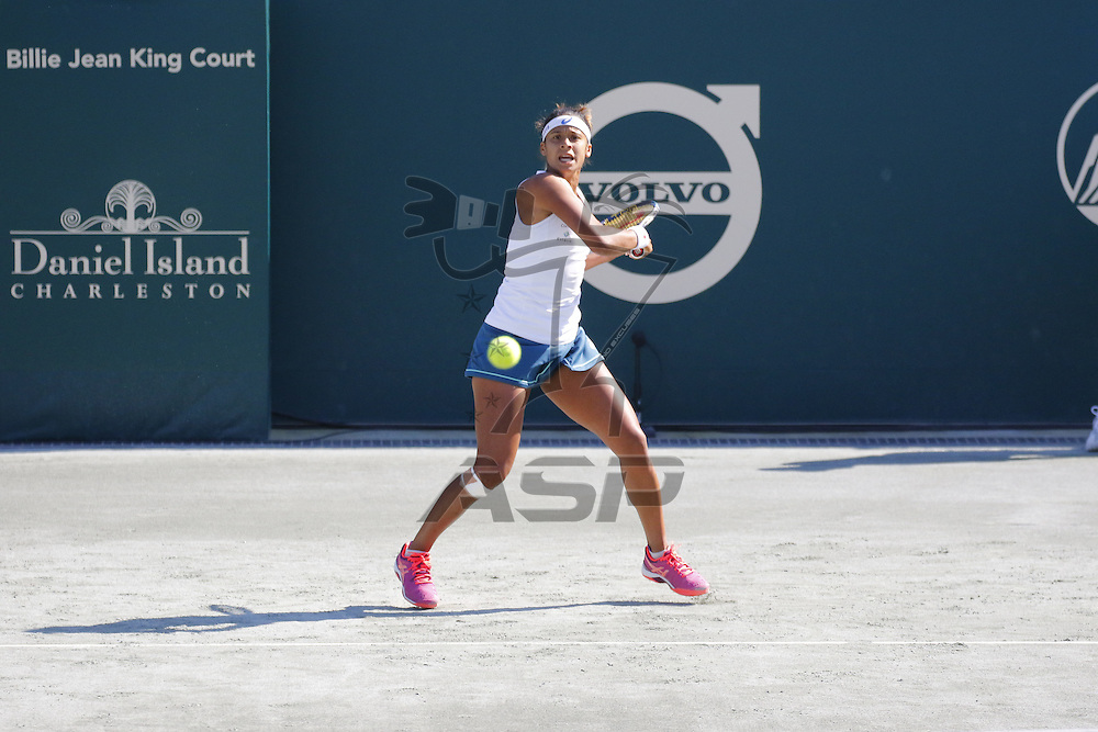Charleston, SC - Apr 05, 2016:   Bethanie Mattek-Sands (USA) plays against Teliana Pereira during the Volvo Car Open at the Family Circle Tennis Center in Charleston, SC.