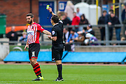 Exeter City Defender Jamie McAllister yellow carded during the Sky Bet League 2 match between Carlisle United and Exeter City at Brunton Park, Carlisle, England on 17 October 2015. Photo by Craig McAllister.