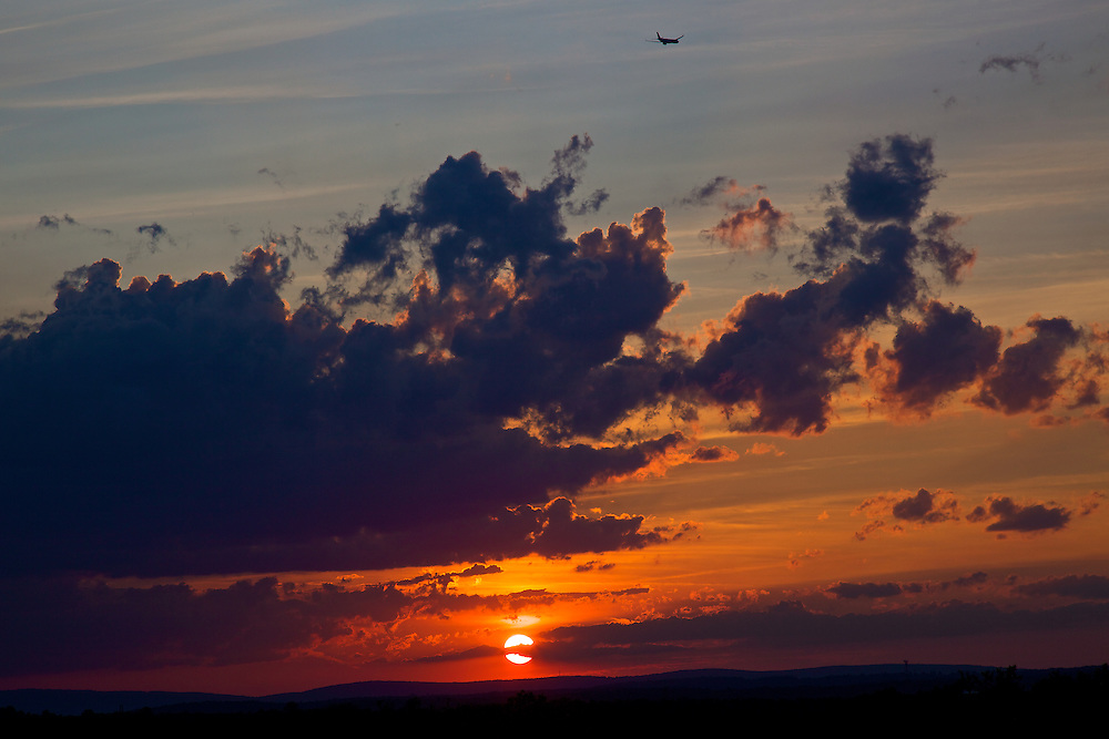 Red sky at night will bring on sailor's delight with this beautiful sunset over rolling hills in Ashburn, VA