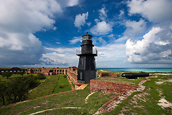 Harbor Light on top of Fort Jefferson, Dry Tortugas National Park, Florida, United States of America
