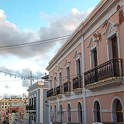 SAN JUAN, PUERTO RICO -- JANUARY 1, 2019: <br /> Pastel colored building on Calle Cruz in Historic Old San Juan. <br /> (Photo by Angel Valentin)
