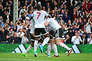 Fulham midfielder Neeskens Kebano (7) celebrates Fulham striker Sone Aluko (24) goal during the EFL Sky Bet Championship match between Fulham and Aston Villa at Craven Cottage, London, England on 17 April 2017. Photo by Jon Bromley.