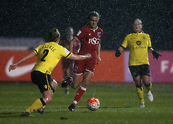 Rosella Ayane of Bristol City Women runs at Hayley Crackle of Aston Villa Ladies - Mandatory by-line: Robbie Stephenson/JMP - 02/01/2012 - FOOTBALL - Stoke Gifford Stadium - Bristol, England - Bristol City Women v Aston Villa Ladies - FA Women's Super League 2