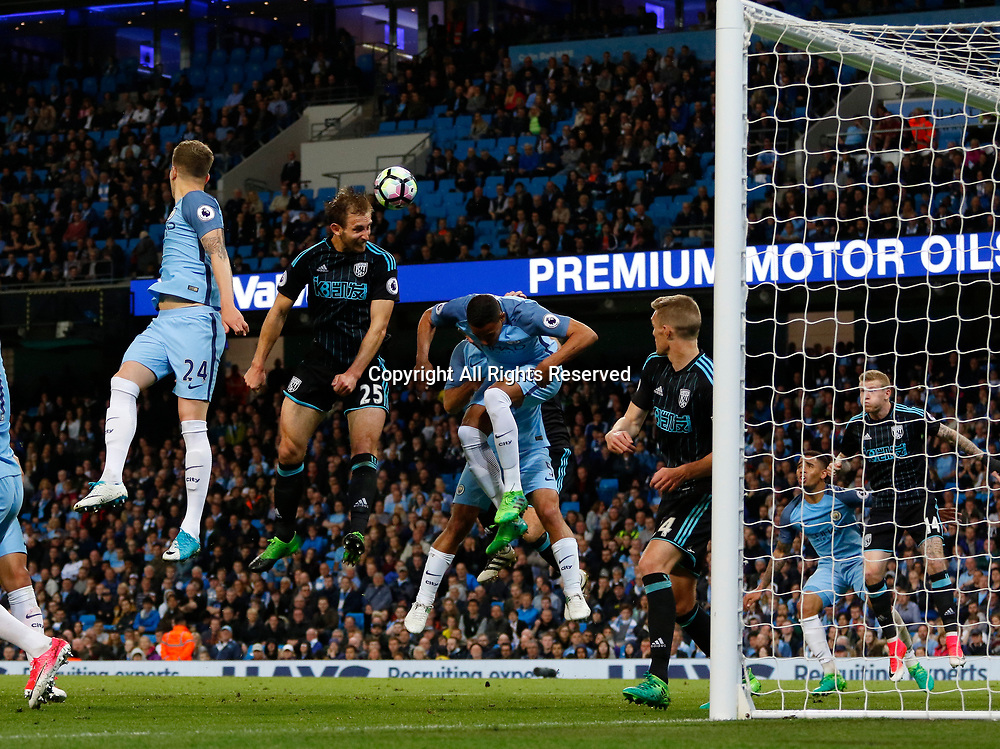 May 16th 2017, Etihad Stadium, Manchester, England; EPL Premier League football, Manchester City versus West Bromwich Albion; Craig Dawson of West Bromwich Albion rises above the City defence to power in a late header which misses the target