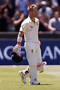 David Warner walks back onto the field after his wicket was called a No Ball during the Magellan fourth test match between Australia v England at  the Melbourne Cricket Ground, Melbourne, Australia on 26 December 2017. Photo by Mark  Witte.
