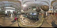 Kyoto Train Station Level Two -- 360 Degree Panorama. Composite of 84 images taken with a Leica CL camera and 18 mm f/2.8 lens (ISO 400, 18 mm, f/5.6, 1/60 sec). Raw images processed with Capture One Pro and AutoPano Giga Pro.