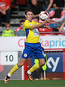 Accrington Stanley midfielder Sean McConville uses his chest to control the ball during the Sky Bet League 2 match between Crawley Town and Accrington Stanley at the Checkatrade.com Stadium, Crawley, England on 26 September 2015. Photo by Bennett Dean.