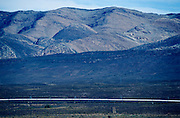 The Blue Train passing the Witteberge near Matjiesfontein.