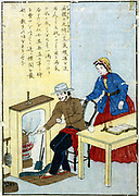 James Watt (1736-1819) Scottish mechanical engineerand inventor depicted  at the fireside collecting steam from a kettle. Nineteenth century Japanese educational print. Technology Discovery Invention