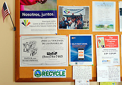 Detail of a corkboard in the CASP second floor offices at the Hebbron Center. The officers do their best to make helpful information available to address the neighborhood's concerns.