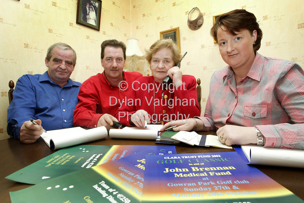 7/10/2002 Irish Examiner.Some of the members of the fundraising committe for the John Brennan Medical Fund pictured last night in Kilkenny.From left Davy Brennan (uncle), Matty Byrne (first Cousin), Genevieve Byrne (aunt) and Sinead Gormley (first cousin)..Picture Dylan Vaughan.
