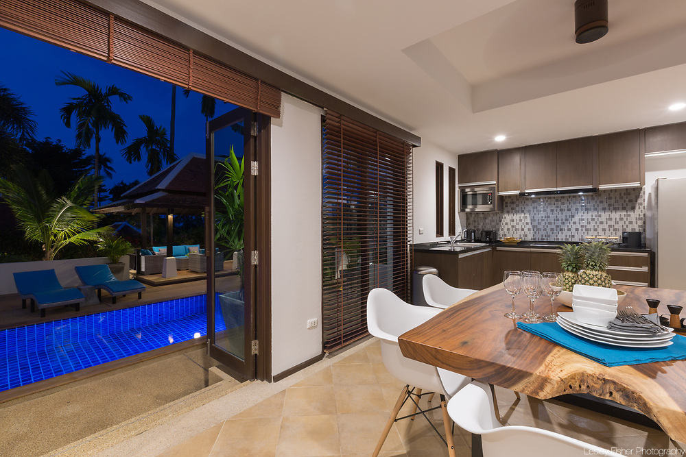 Indoor dining area at Villa Divina, a private and luxury 3 bedroom villa located in Plumeria Place, a private residence in Bang Rak, Koh Samui, Thailand