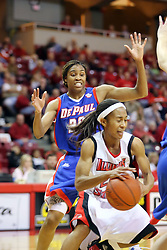 25 November 2007: Tiffany Hudson drives past Natasha Williams. The DePaul Blue Demons defeated the Illinois State Redbirds 80-75 on Doug Collins Court at Redbird Arena in Normal Illinois