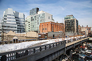 A view of the pedestrian High Line walkway over 10th Avenue; Chelsea; New York City; New York, United States of America.  The iconic InterAtiveCorp building is in the background.  (photo by Andrew Aitchison / In pictures via Getty Images)