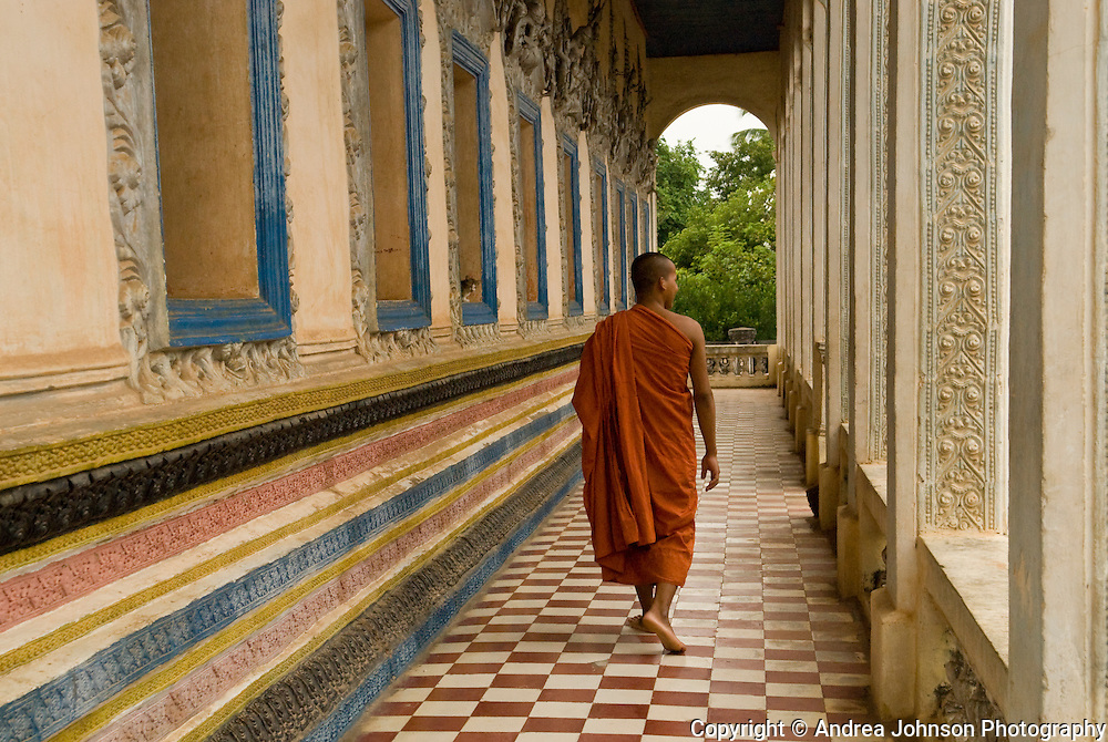 Monk at temple, Siem Reap, Cambodia