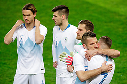 Bostjan Cesar of Slovenia hugs Josip Ilicic of Slovenia during friendly football match between National teams of Slovenia and Belarus, on March 27, 2018 in SRC Stozice, Ljubljana, Slovenia. Photo by Matic Klansek Velej / Sportida