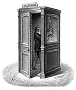 Telephone call box. Engraving published Paris 1888