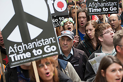 © licensed to London News Pictures. London, UK 19/05/2012. Demonstrators from Stop the War Coalition protesting against NATO conference taking place in Chicago, outside American Embassy in London, today (19/05/12). Protesters calling for western troops to come home immediately from Afghanistan and an end to Western interventions in the Middle East. Photo credit: Tolga Akmen/LNP
