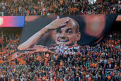 09.06.2017, De Kuip Stadium, Rotterdam, NED, FIFA WM 2018 Qualifikation, Niederlande vs Luxemburg, Gruppe A, im Bild banner of Wesley Sneijder of Netherlands // banner of Wesley Sneijder of Netherlands during the FIFA World Cup 2018, group A qualifying match between Netherlands and Luxemburg at the De Kuip Stadium in Rotterdam, Netherlands on 2017/06/09. EXPA Pictures © 2017, PhotoCredit: EXPA/ Focus Images/ Joep Joseph Leenen<br /> <br /> *****ATTENTION - for AUT, GER, FRA, ITA, SUI, POL, CRO, SLO only*****