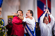 "10 JANUARY 2007 - MANAGUA, NICARAGUA:  HUGO CHAVEZ, President of Venezuela and DANIEL ORTEGA, President of Nicaragua at Ortega's inauguration. Ortega, the leader of the Sandanista Front, was sworn in as the President of Nicaragua Wednesday. Ortega and the Sandanistas ruled Nicaragua from their victory of ""Tacho"" Somoza in 1979 until their defeat by Violetta Chamorro in the 1990 election.  Photo by Jack Kurtz"