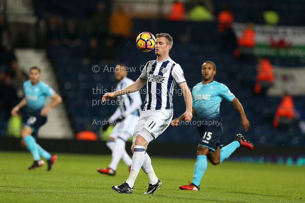 Chris Brunt of West Bromwich Albion in action. Premier league match, West Bromwich Albion v Swansea city at the Hawthorns stadium in West Bromwich, Midlands on Wednesday 14th December 2016. pic by Andrew Orchard, Andrew Orchard sports photography.