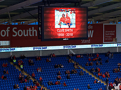 CARDIFF, WALES - Thursday, September 6, 2018: A tribute to Clive Smith before the UEFA Nations League Group Stage League B Group 4 match between Wales and Republic of Ireland at the Cardiff City Stadium. (Pic by Laura Malkin/Propaganda)