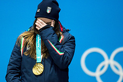 PYEONGCHANG-GUN, SOUTH KOREA - FEBRUARY 21: Gold medalist Sofia Goggia of Italy celebrates during the medal ceremony for the Ladies' Downhill on day twelve of the PyeongChang 2018 Winter Olympic Games at Medal Plaza on February 21, 2018 in Pyeongchang-gun, South Korea. Photo by Kim Jong-man / Sportida