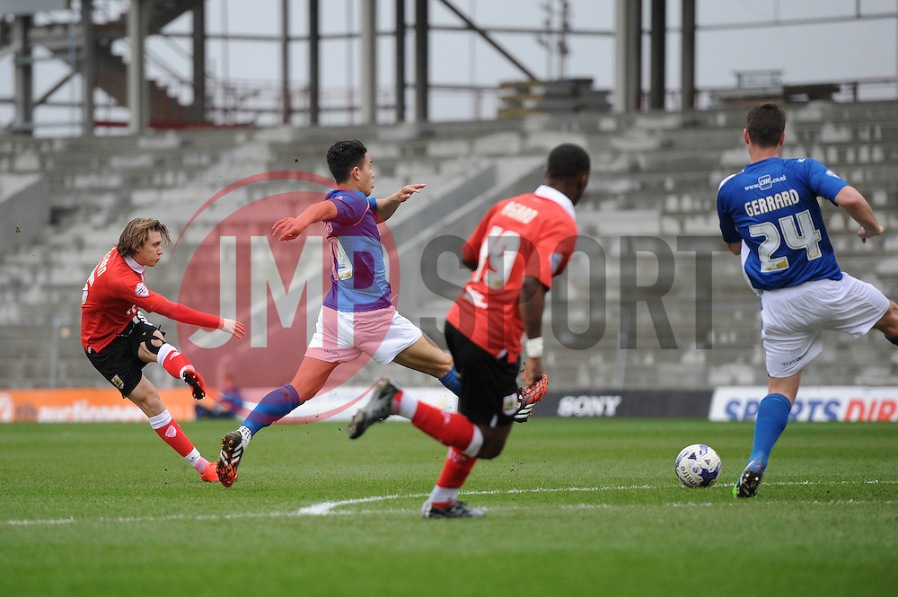 Bristol City's Luke Freeman takes a shot at goal. - Photo mandatory by-line: Dougie Allward/JMP - Mobile: 07966 386802 - 03/04/2015 - SPORT - Football - Oldham - Boundary Park - Bristol City v Oldham Athletic - Sky Bet League One