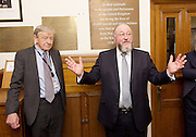 Kinderstransport plaque in Parliament, Westminster, London, Great Britain <br /> 27th January 2017 <br /> <br /> Chief Rabbi and Archbishop of Canterbury to mark Holocaust Memorial Day with Lord Dubs at rededication of Kindertransport plaque in Parliament<br />  <br /> 20 years ago the Committee of the Reunion of the Kindertransport donated a plaque to Parliament commemorating Britain&rsquo;s act of generosity to Jewish children in Nazi-occupied Europe. On Holocaust Memorial Day [27 January 2017], the plaque will be rededicated in the presence of newly arrived child refugees who were reunited with their families from Calais last year by Safe Passage, a project of Citizens UK. <br />  <br /> The ceremony will be particularly poignant as it will be attended by Lord Dubs, himself a Kindertransport survivor, who passed an amendment to the Immigration Act last year, with the Government's support, affording sanctuary in the UK to some of the most vulnerable lone child refugees in Europe.<br />  Lord Alf Dubs.<br /> Chief Rabbi, Ephraim Mirvis, <br /> <br /> <br /> <br /> Rededication of Kinderstransport plaque in Parliament<br /> <br /> <br /> <br /> <br /> Photograph by Elliott Franks