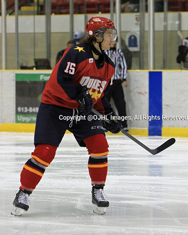 WELLINGTON, ON - Sep 12, 2014 : Ontario Junior Hockey League game action between Cobourg and Wellington, Josh Supryka #15 of the Wellington Dukes Hockey Club.<br /> (Photo by Ed McPherson / OJHL Images)