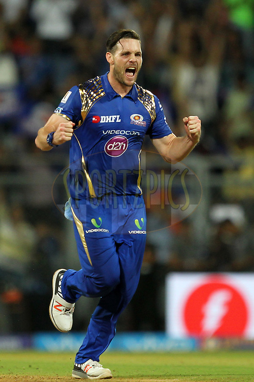 Mitchell McClenaghan of Mumbai Indians celebrates wicket of Praveen Kumar of Gujrat Lions  during match 9 of the Vivo Indian Premier League ( IPL ) 2016 between the Mumbai Indians and the Gujarat Lions held at the Wankhede Stadium in Mumbai on the 16th April 2016Photo by Prashant Bhoot/ IPL/ SPORTZPICS