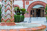 View of the fountain in the entrance of Flagler College, a historical place in st. Augustine, Florida.