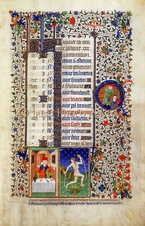 January:  Man feasting (Janus). Janus (two-faced Roman god, keeper of the gate of heaven) in roundel on  centre left. Astrological sign for Aquarius, the Water Carrier. From Bedford Hours. French c1423.