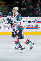 KELOWNA, CANADA - JANUARY 10: Colten Martin #8 of Kelowna Rockets passes the puck against the Medicine Hat Tigers on January 10, 2015 at Prospera Place in Kelowna, British Columbia, Canada.  (Photo by Marissa Baecker/Shoot the Breeze)  *** Local Caption *** Colten Martin;