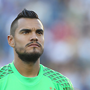 FOXBOROUGH, MASSACHUSETTS - JUNE 18:  Goalkeeper Sergio Romero #1 of Argentina during team presentations before the Argentina Vs Venezuela Quarterfinal match of the Copa America Centenario USA 2016 Tournament at Gillette Stadium on June 18, 2016 in Foxborough, Massachusetts. (Photo by Tim Clayton/Corbis via Getty Images)
